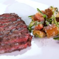 Grilled Skirt Steak with panzanella salad by Michael Symon