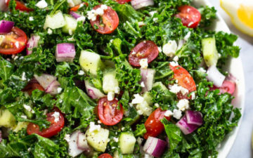 Greek Kale Salad With Lemon Olive Oil Dressing