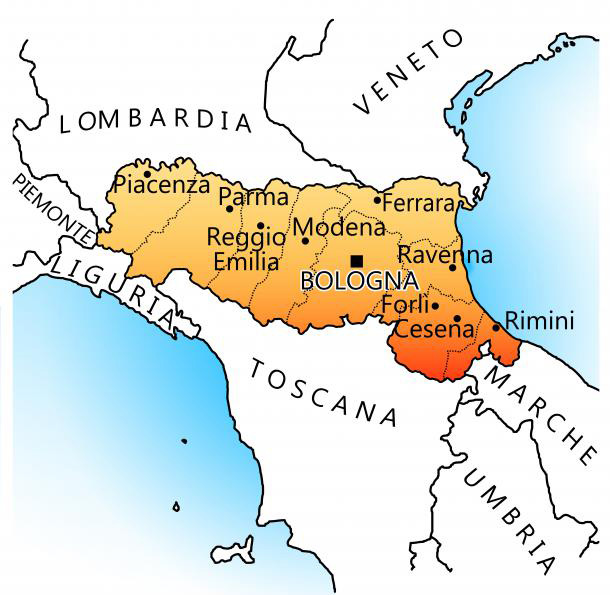 Map of Modena and Reggio Italy